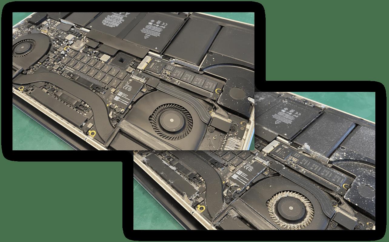 MacBook før og efter rensning af blæser